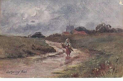 BV39.Vintage Postcard.Gathering Fuel.Woman collecting wood in the countryside.