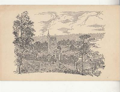 E78.Vintage Undivided Postcard. Drawing of church and surrounding houses.