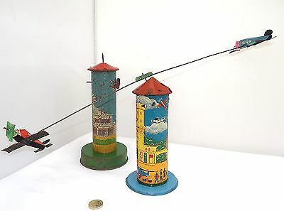 VINTAGE TINPLATE CLOCKWORK FLYING AEROPLANE TOY GAME MADE IN NGLAND 1940's 50's