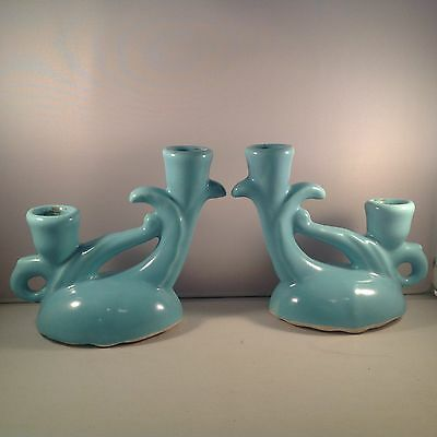 Camark Pottery Pair of Aqua Blue Double Candlesticks #269 W/Stickers
