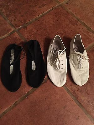 Danchuz Girls White Leather Lace Up Dance Shoes, Angelo Luzio Black Shoes Size 5