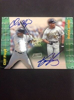 Cliff Floyd & Kevin Young Signed Baseball Card