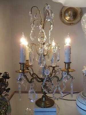 Antique Vtg French Brass & Crystal Chandelier Girandole Candelabra Table Lamp