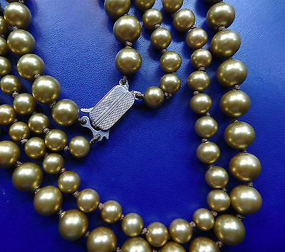 vintage STERLING SILVER clasp gold faux pearl glass bead necklace 1950s -C625