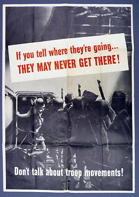 """Original WWII US Propaganda Poster """"If You Tell Where They're Going..."""""""