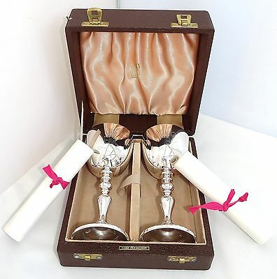 Limited Edition Boxed 1947-1972 Queen Elizabeth Silver Wedding Sterling Goblets