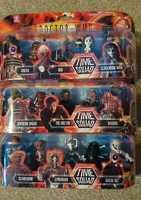 DOCTOR WHO - TIME SQUAD. Complete set of 3 packs with all 15 figures. Unopened