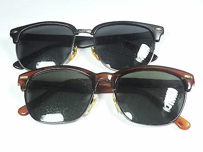 Vintage Clubmaster Style Sunglasses Set Of Two Black & Brown Glasses Retro