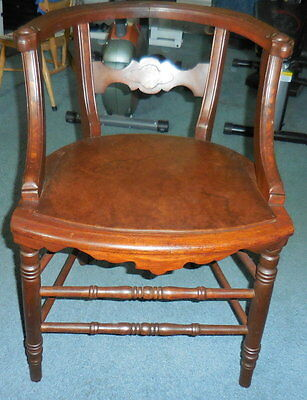Antique Curved Back Wood Arm Side Chair Desk Office Chair Walnut?