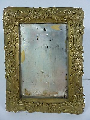 Antique Decorative Art Picture Frame tin metal floral scrollwork gold painted