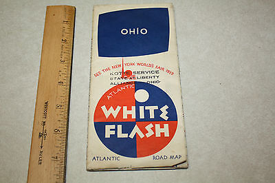 1939 Atlantic White Flash map of Ohio   Alliance OH