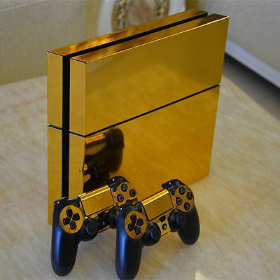 Glossy Gold Decal Skin Sticker Cover for PS4 Playstation 4 Console & Controllers