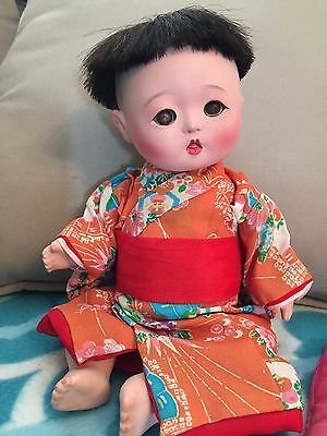 Antique Gofun Japan Doll Baby Compo With Voice Box