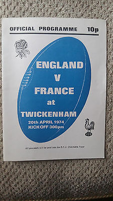 RARE ENGLAND v FRANCE CHARITY INTERNATIONAL RUGBY UNION PROGRAMME 20/04/1974