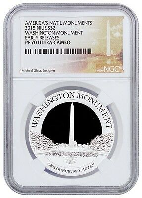 2015 Washington Monument 1 Oz. Proof Silver Niue $2 Early Rel Ngc Pf70 Ucam