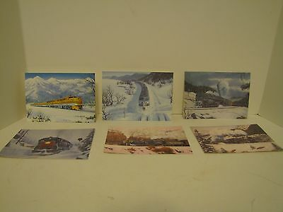 Lot Of 6 Leanin' Tree Fine Art Christmas Cards 6 Different Vintage Trains