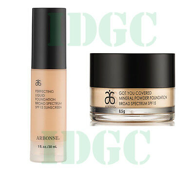 ARBONNE LIQUID & MINERAL POWDER FOUNDATIONS SET All Shades!! FREE POST