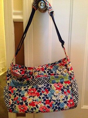 **VERA BRADLEY Messenger Diaper Bag Blue/Pink Floral Quilted With Changing Pad**