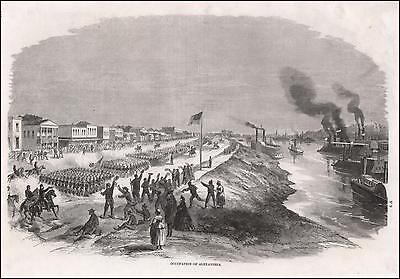 ALEXANDRIA, LOUISIANA, CIVIL WAR VIEW, antique engraving, original 1868