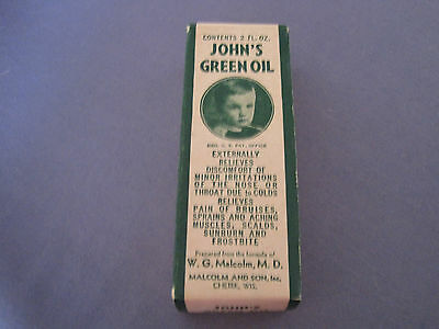 Vintage John's Green Oil Medicine Advertising Box ONLY Cough/Cold