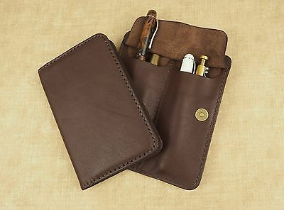 Handcrafted Leather Moleskine 9x14cm Notebook cover & Pen Pencil Wrap Case - Tan