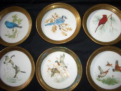 Vintage set lot 6 coasters; brass porcelain ceramic;birds cardinal quail duck