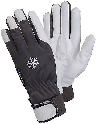 TEGERA 117 Winter Lined Warm Thermal Leather Work Gloves Precision Velcro