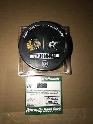 Dallas stars Vs Chicago Blackhawks Game Used Warmup Puck