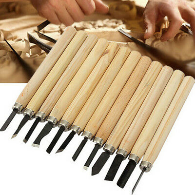 12Pcs Wood Carving Hand Chisel Woodworking Tool Set Woodworkers Gouges SEAU
