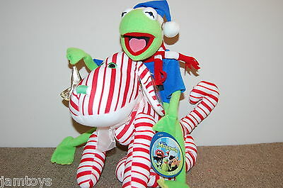 "BELL RINGER Kermit The Frog~ 15""  Christmas Muppet On Peppermint Puppy~NWT Plush"
