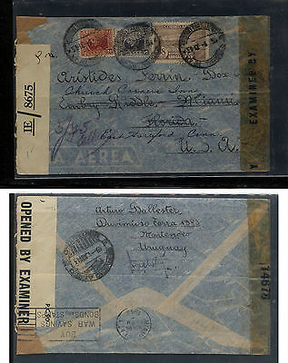 Uruguay   double censor cover to US  (different censor tapes)       EX0330