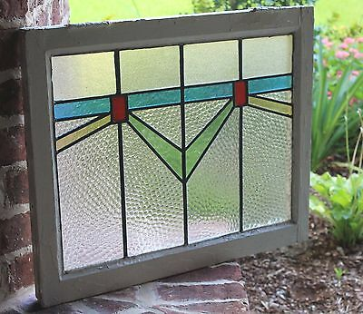 Antique English Wood Framed Leaded 6-Color Stained Glass Window Art Deco #8