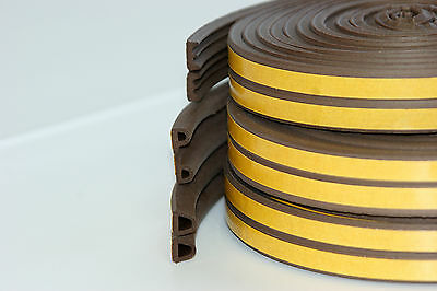 Brown EPDM Draught Excluder Self Adhesive Rubber Door Window Seal Strip Roll