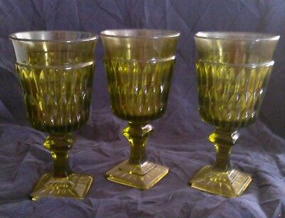 """3 Vintage Indiana Glass Green Mt Vernon 5 1/2"""" tall  Juice/Water/Wine Goblets"""