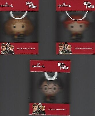 2016 Hallmark Red Box Set Of 3 Harry, Hermione And Ron Mint In Box.