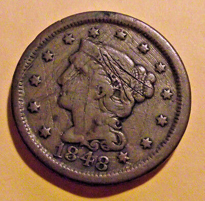 1848 LARGE CENT - Braided Hair Cent   (LOT X307) **Scratches***