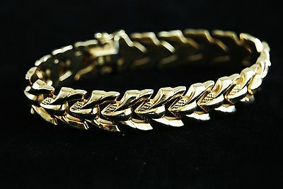 VINTAGE Yellow GOLD 14 K FANCY Chain Link BRACELET  ITALY