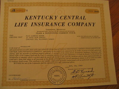 Kentucky Central Life Insurance Company Stock certificate 1966