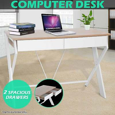 Office Computer Desk Home Student Study Laptop Table 2 Drawer Storage Cabinet
