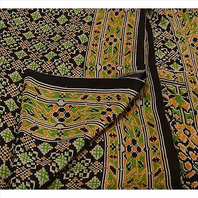 Antique Vintage 100% Pure Silk Saree Black Printed Sari Craft 5 Yard Fabric