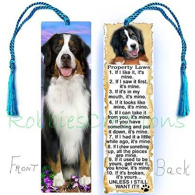 BERNESE MOUNTAIN DOG Large BOOKMARK TASSEL RULES Property Law Book Mark Art CARD