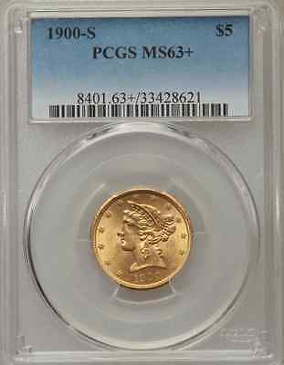 1900-S $5 Liberty Gold Half Eagle - PCGS MS63+ - Low Mintage!