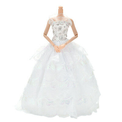 """1 Pc 4 Layers White Handmade Lace Wedding  Dress for 11"""" Barbies Dolls US"""