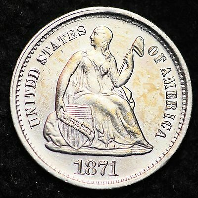 1871-S Seated Liberty Half Dime CHOICE UNC FREE SHIPPING E196 CNT