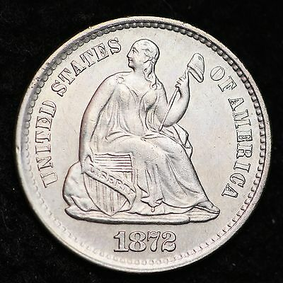 1872-S Seated Liberty Half Dime CHOICE BU FREE SHIPPING E201 CHT