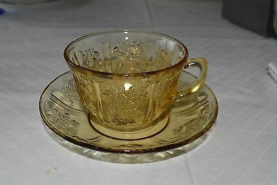 Yellow Depression Glass Cup & Saucer, Sharon Cabbage Rose, Federal Glass