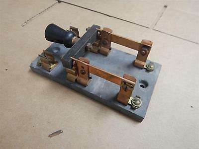 Antique Electric Knife Switch on a Slate Base Double Pole Single Throw