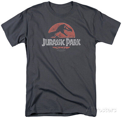 Jurassic Park - Faded Logo Apparel T-Shirt - Charcoal