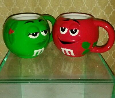 M & M Christmas Green & Red Set Of 2 Cup Candy Advertising