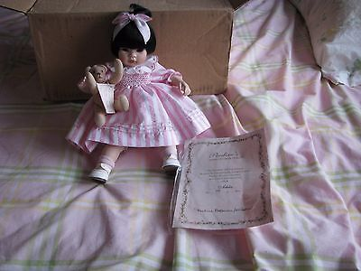 """Porcelain Doll """"ashlee"""" By Pauline's Limited Edition Dolls Asian Girl  409/950"""